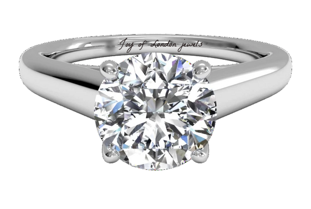 A Flawless 2CT Brilliant Round Cut Belgium Lab Diamond Engagement Ring - Joy of London Jewels