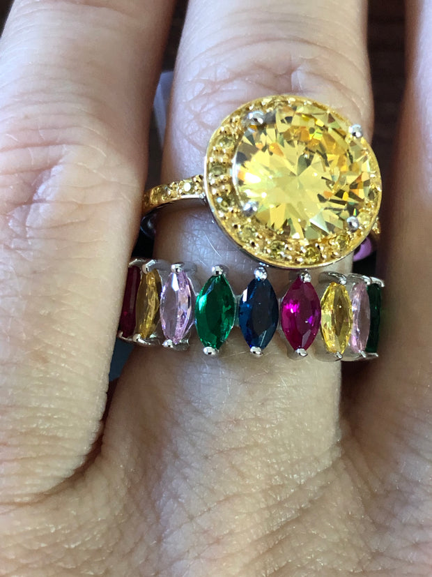The Golden Love, A Bespoke 3.9CT Round Cut Canary Yellow Russian Lab Diamond Set - Rings - Joy Of London Jewels