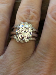 Bespoke Collection 4CT Round Cut Solitaire Floral Bridal Setting