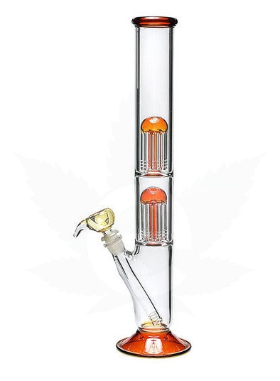 "18"" Water Pipe Double Perc Amber Bottom"