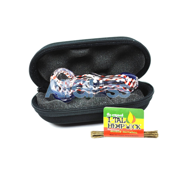 American Glass Spoon + Carrying Pouch + FREE Hempwick Travel Kit , Back to School Sale,Functional Glass Art,Scientific Glass,Complete Travel Kits,Glass,July Sale - AllGlass.com, eCannabis Shop  - 2