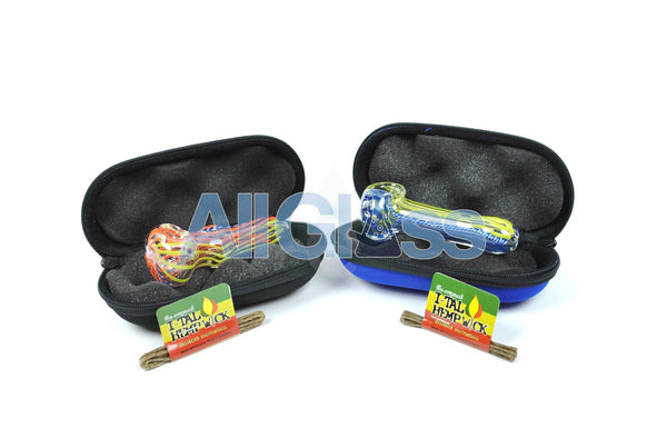 American Glass Spoon + Carrying Pouch + FREE Hempwick Travel Kit , Back to School Sale,Functional Glass Art,Scientific Glass,Complete Travel Kits,Glass,July Sale - AllGlass.com, eCannabis Shop  - 4