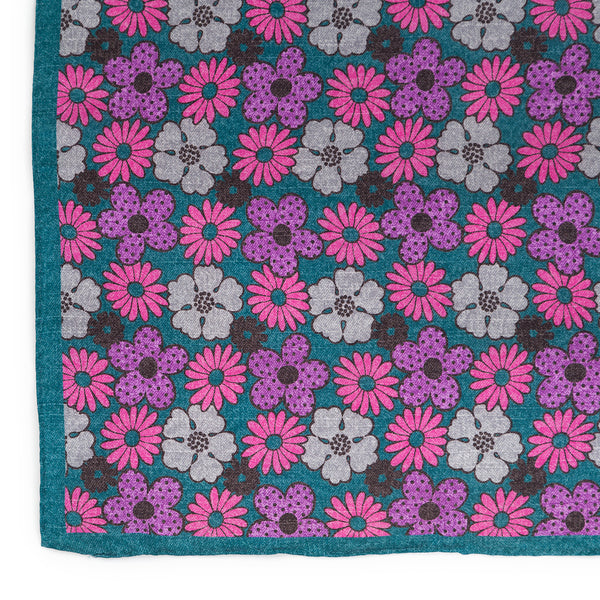 Silk Pocket Square - Teal Spring Flowers