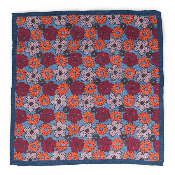 Silk Pocket Square - Blue Spring Flowers