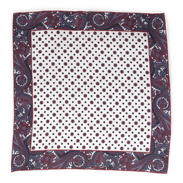 Silk Pocket Square - White Paisley