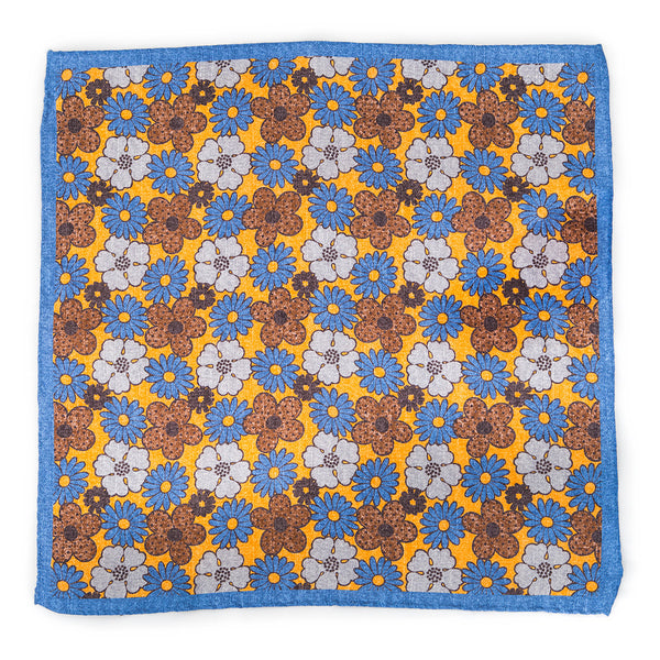 Silk Pocket Square - Yellow Spring Flowers