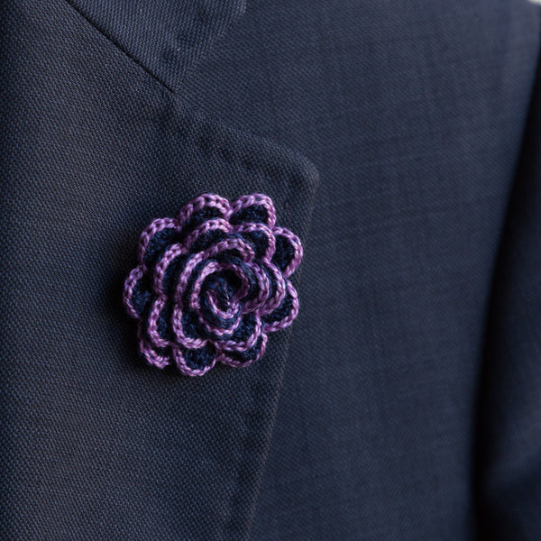 Boutonniere (Lapel Pin) - Purple/Navy