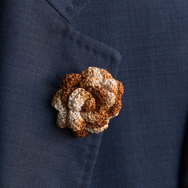 Boutonniere (Lapel Pin) - Brown/Tan