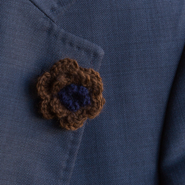 Boutonniere (Lapel Pin) - Navy/Brown