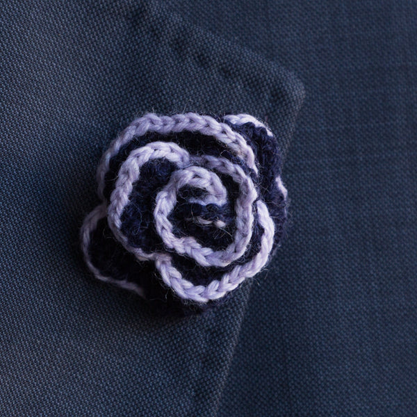Boutonniere (Lapel Pin) - Navy/Lilac