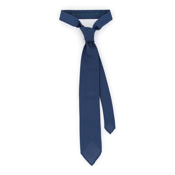 Handrolled Woven Grenadine Silk Tie  - Navy Blue