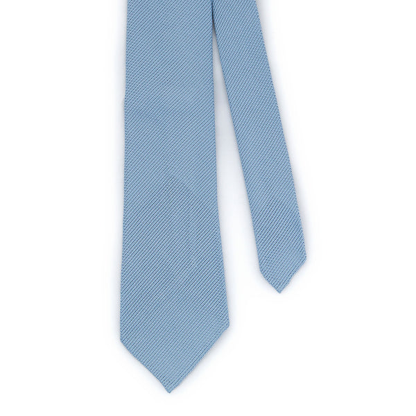 Handrolled Woven Grenadine Silk Tie  - Pale Blue