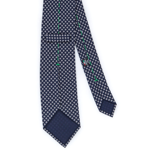 Foulard Twill Weave Silk Tie - Navy Blue with White Rings