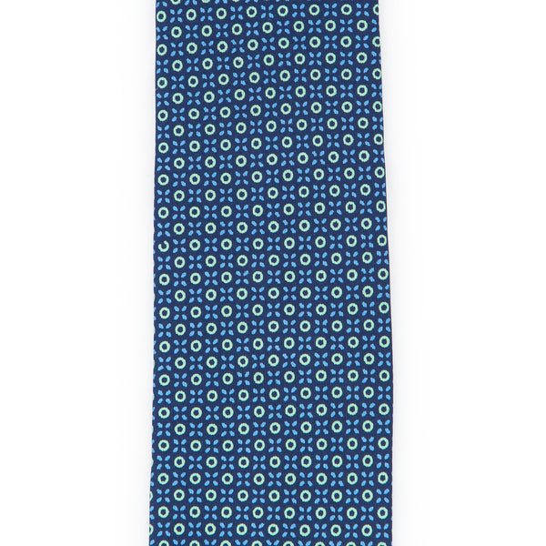 Foulard Twill Weave Silk Tie - Navy Blue with Green Rings