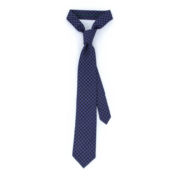 Foulard Twill Weave Silk Tie - Navy Blue with Purple Flowers