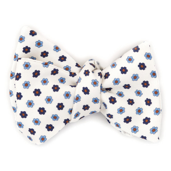 Bow Tie, Silk Self-Tie Square Edge - White with Blue Flowers