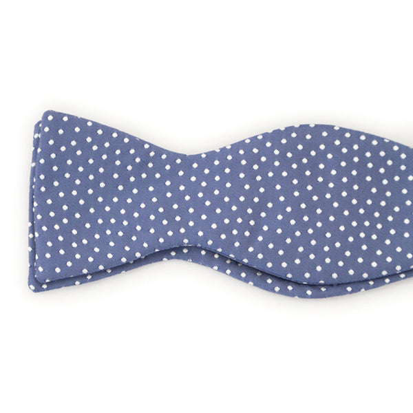 Bow Tie, Silk Self-Tie Square Edge - Blue with Silver Polka Dots