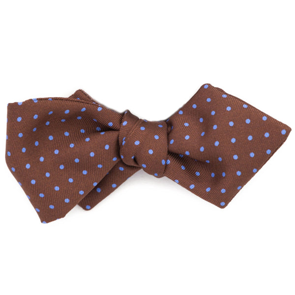 Bow Tie, Silk Self-Tie Diamond Edge - Brown with Blue Polka Dots