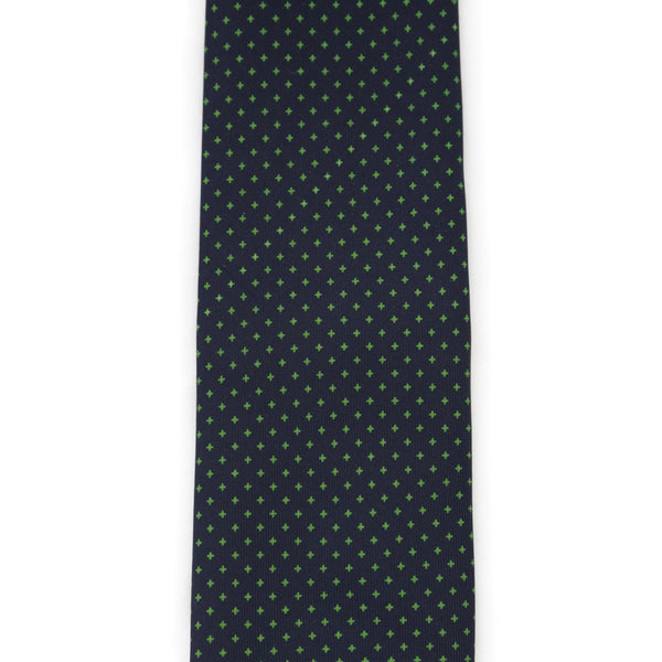 Foulard Twill Weave Silk Tie - Navy Blue with Green Crosses
