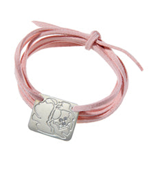the peony bracelet on pink faux suede