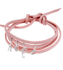 the little letter bracelet on pink faux suede