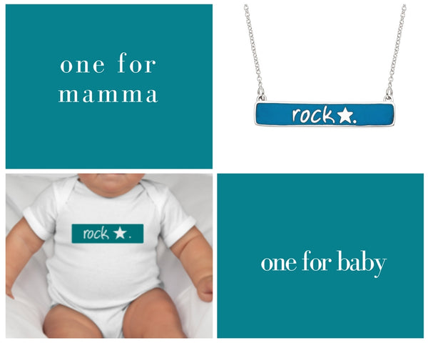 the rock star necklace + onesie