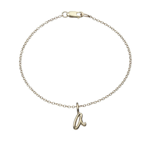 the little letter chain bracelet in yellow gold