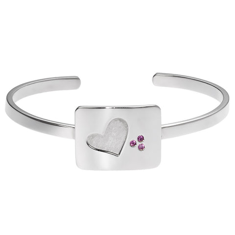 the heart cuff bracelet in sterling silver with purple sapphires