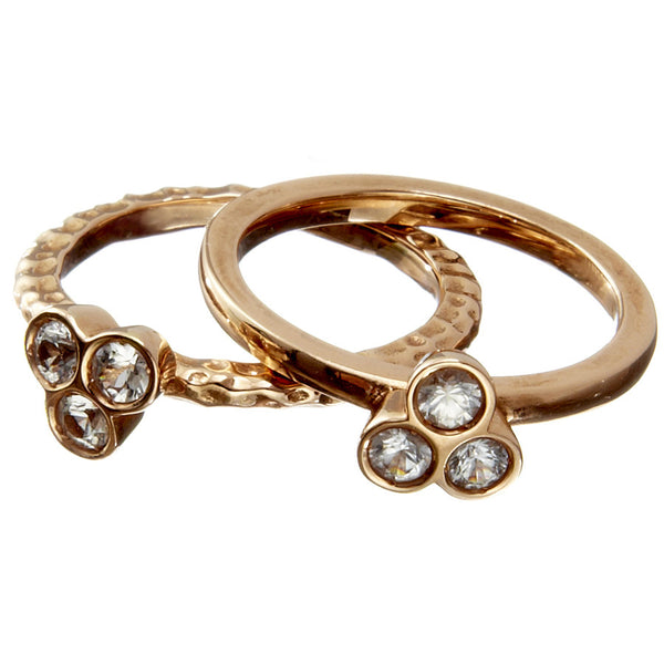 the portafortuna stacking rings in rose gold