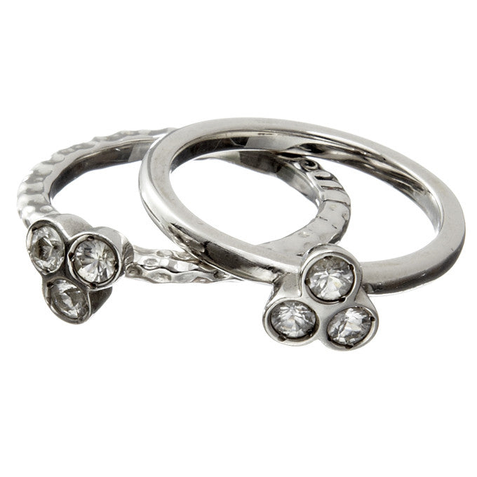 the portafortuna stacking rings in sterling silver with white sapphires
