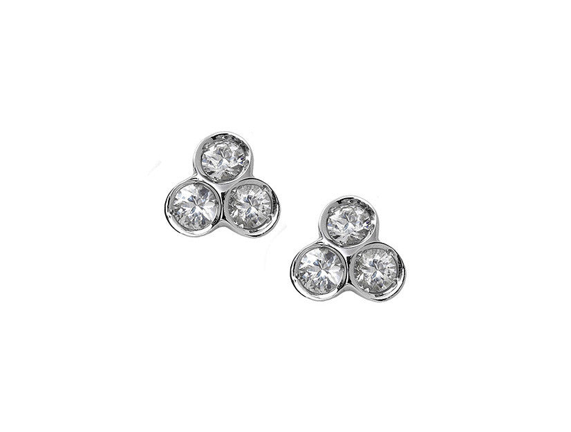 the portafortuna studs in sterling silver with white sapphires