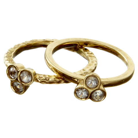 the portafortuna stacking rings in yellow gold