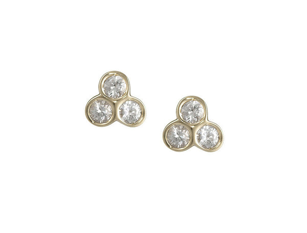 the portafortuna studs in yellow gold