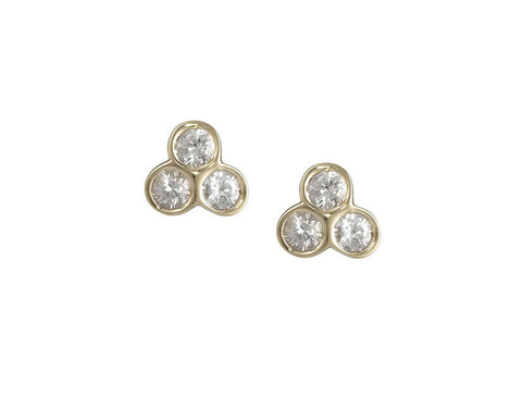 portafortuna studs in yellow gold with white sapphires