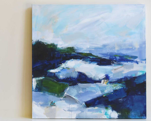 Misty Coastline Abstract Painting