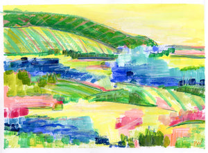 'Pinot Grigio Picnic' 11 x 15 painting on paper AVAILABLE THROUGH GALLERY