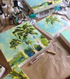 Sunny Summer Day. Original Painting: Palm Tree Collection
