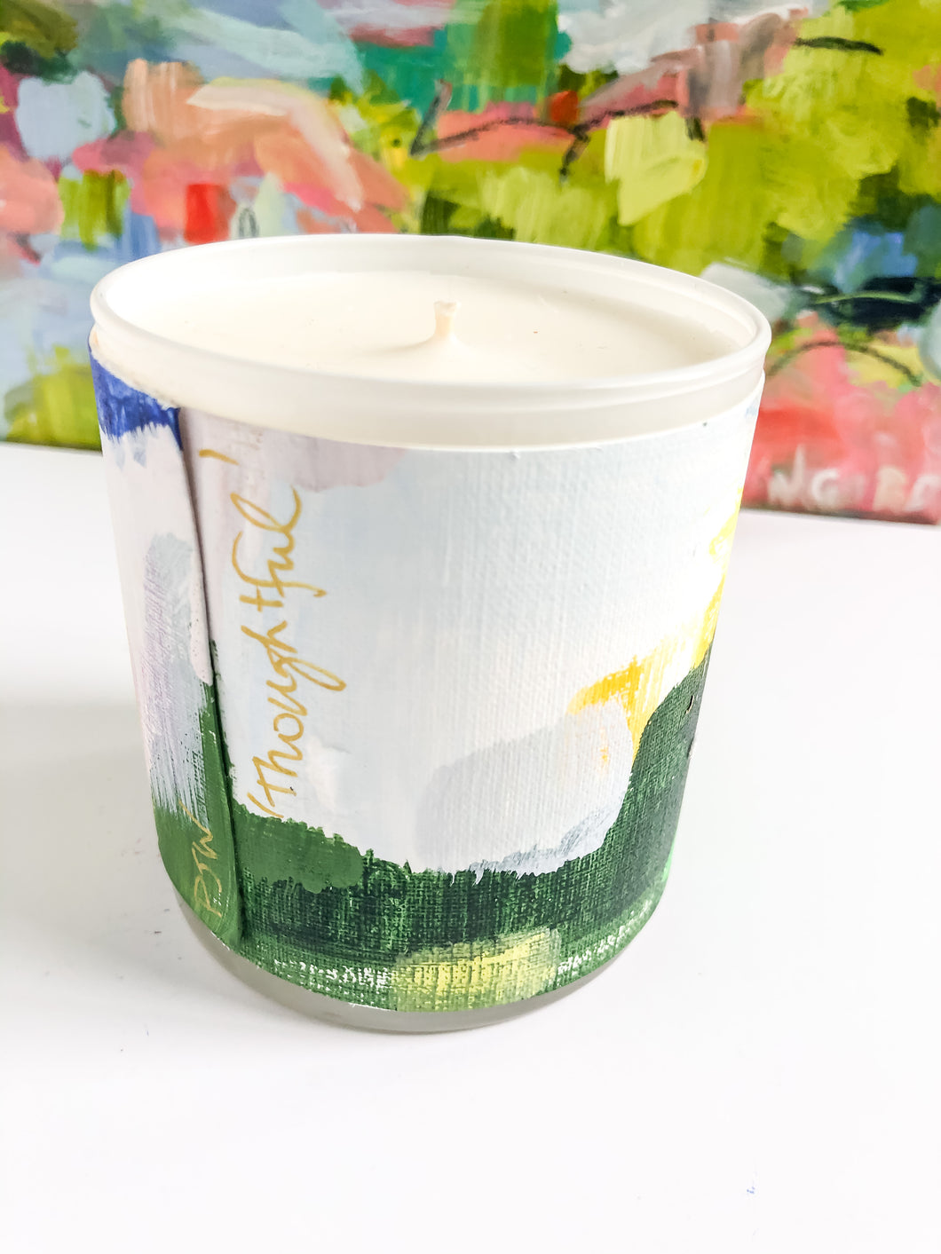ORIGINAL FINE ART WRAPPED CANDLE: NINE