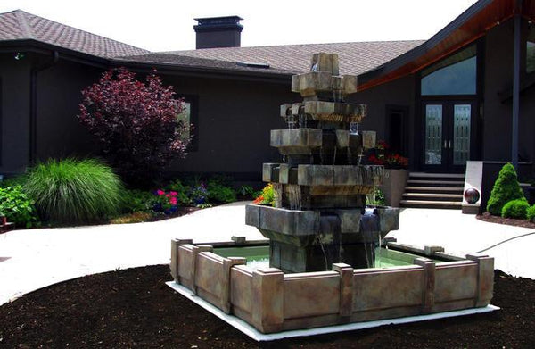 Cascadia Outdoor Fountain in Dimensions Pool