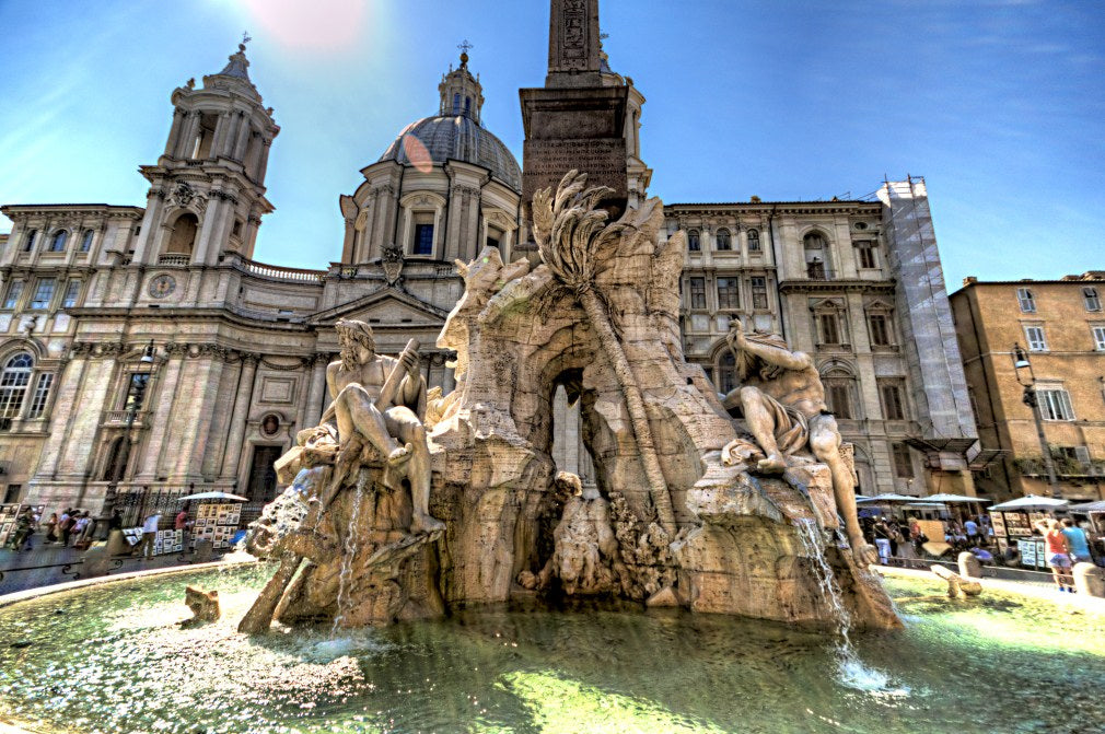 Gaze at the Majestic Fountain of Four Rivers in Rome