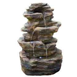 "16"" Castle Ledgestone Rock Fountain with LED Lights - Outdoor Fountain Pros"