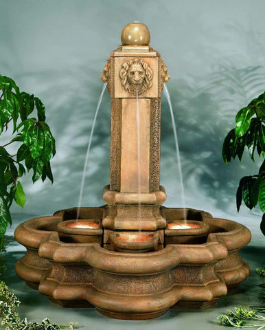 Classic Lion Pillar Cast Stone Outdoor Fountain, Garden Outdoor Fountains - Outdoor Fountain Pros