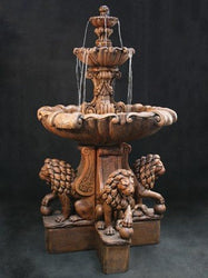 Vesuvio Outdoor Fountain with Lion Pedestals - Extra Large, Tiered Outdoor Fountains - Outdoor Fountain Pros