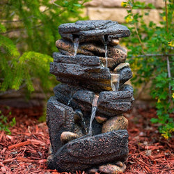 "20"" Lassen Stone Waterfall Rock Fountain with LED Lights - Outdoor Fountain Pros"
