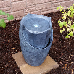 "20"" Modern Chiseled Stone Floor Vase Fountain with LED - Outdoor Fountain Pros"