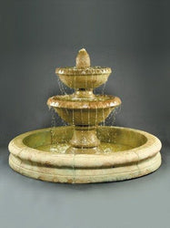 Sonoma Tiered Outdoor Fountain With Old Euro Basin, Tiered Outdoor Fountains - Outdoor Fountain Pros
