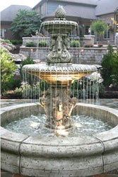 Cavalli Outdoor Fountain with Fiore Pond, Large Outdoor Fountains - Outdoor Fountain Pros