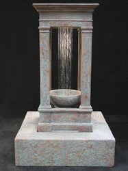 Old World Center Rain Outdoor Water Fountain, Tall with Bowl, Large Outdoor Fountains - Outdoor Fountain Pros