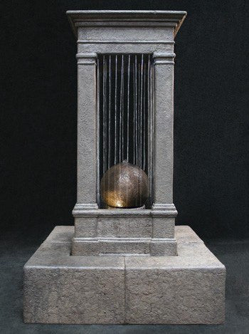 Old World Curtain Rain Outdoor Water Fountain, Tall with Sphere