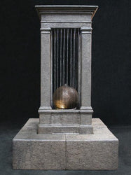 Old World Curtain Rain Outdoor Water Fountain, Tall with Sphere, Large Outdoor Fountains - Outdoor Fountain Pros
